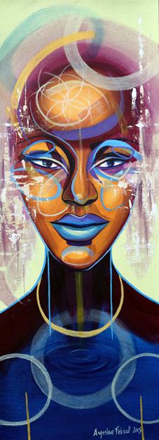 Goddess Flow, 30 x 80 cms acrylic on canvas